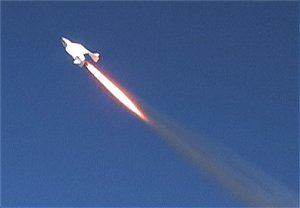 SpaceShipOne heads for space