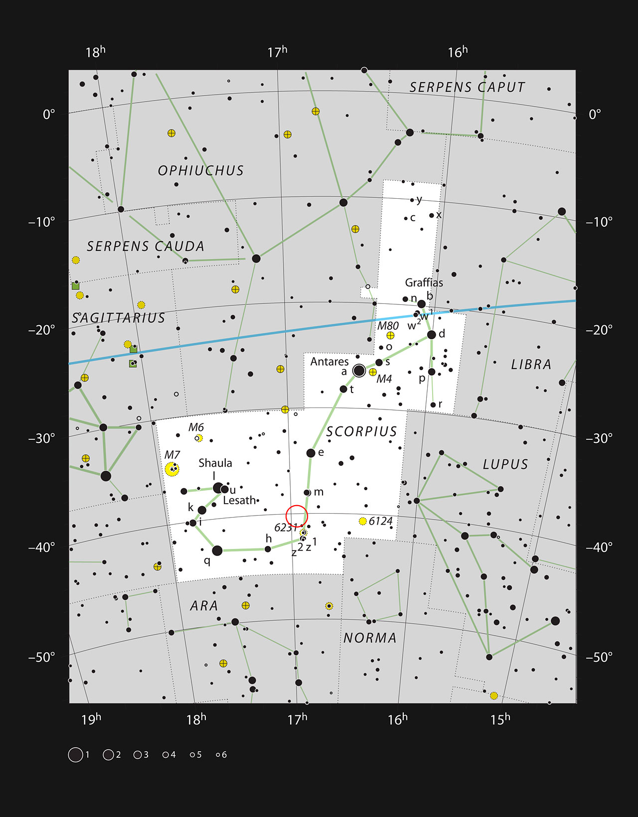 This chart shows the prominent constellation of Scorpius (The Scorpion). Most of the stars that can be seen in a dark sky with the unaided eye are marked. The location of the star formation region called the Prawn Nebula (IC 4628) is indicated with a red circle. This cloud appears large but is very faint and cannot be seen visually with a small telescope.