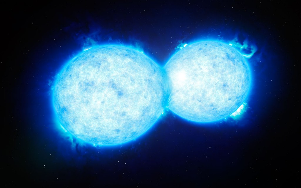 This artist's impression shows VFTS 352 — the hottest and most massive double star system to date where the two components are in contact and sharing material. The two stars in this extreme system lie about 160 000 light-years from Earth in the Large Magellanic Cloud. This intriguing system could be heading for a dramatic end, either with the formation of a single giant star or as a future binary black hole.