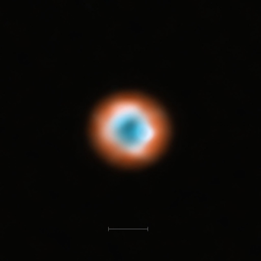 ALMA imaging of the transitional disc DoAr 44. This ALMA image combines a view of the dust around the young star DoAr 44 (orange) with a view of the gaseous material (blue). The smaller hole in the inner gas is a telltale sign of the presence of a young planet clearing the disc. The bar at the bottom of the image indicates the diameter of the orbit of Neptune in the Solar System (60 AU).