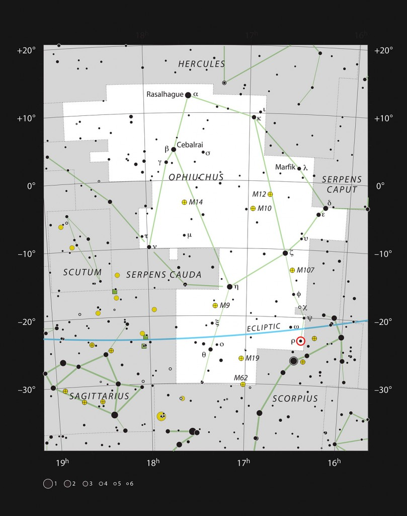 This chart shows the large constellation of Ophiuchus (The Serpent Bearer). In the southern part of this constellation there is a spectacular region of dark and bright clouds, forming part of a region of star formation. This chart, which shows all the stars easily seen with the naked eye on a dark and clear night, shows the location of Rho Ophiuchi, the brightest star in the region.